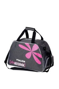 Practical Boston fitness bag with extra shoe compartment - grey/pink